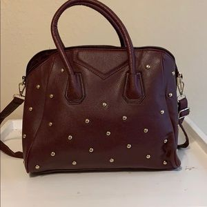 Handbags - Maroon Studded bag with crossbody Strap
